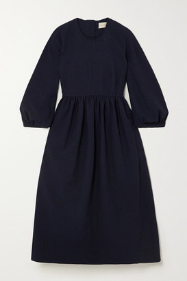 &Daughter Rosalie Gathered Cotton-jacquard Midi Dress - Navy