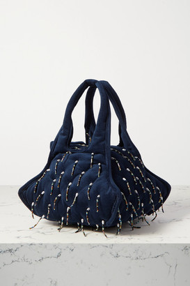 KHAORE Pillow Faux Pearl And Bead-embellished Velvet Tote - Navy