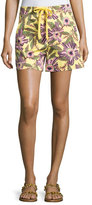 RED Valentino Passionflower-Print Stretch-Poplin Shorts, Multi