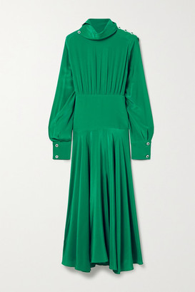 Christopher Kane Crystal-embellished Pleated Crepe De Chine Midi Dress - Emerald
