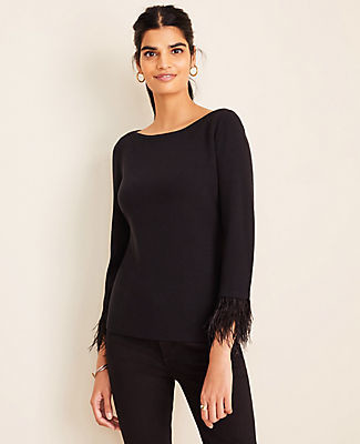 Ann Taylor Petite Feathered Cuff Sweater