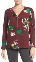 Chaus Women's Zip Front Floral Print Blouse