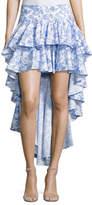 Caroline Constas Giulia Cascade Ruffle Printed Skirt, Blue
