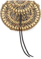 Lulu Cleo Golden Leaves Beaded Round Shoulder Bag