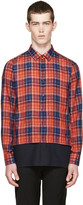 Raf Simons Red and Navy Layered Check Shirt