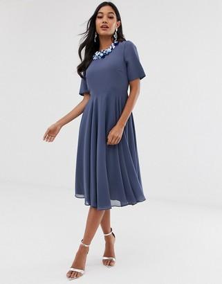 Asos Design DESIGN crop top embellished neckline midi dress-Blue