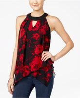 Amy Byer Juniors' Printed Asymmetrical Halter Top