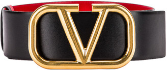Valentino VLogo Leather Belt in Black & Red | FWRD