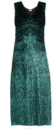 Masscob Laurent Ruched Velvet Dress - Green