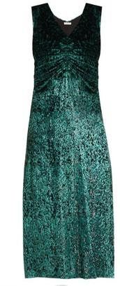 Masscob Laurent Ruched Velvet Dress - Womens - Green