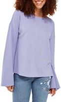 Topshop Women's Split Back Bell Sleeve Sweatshirt
