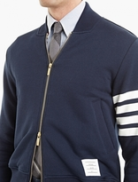Thom Browne Navy Jersey Bomber Jacket
