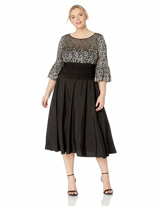 Jessica Howard Size Womens Bell Sleeve Dress with Illusion Neckline