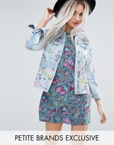 Glamorous Petite Denim Jacket In Grafitti Print