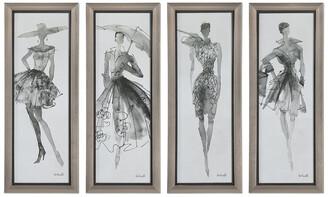 Uttermost Set Of 4 Fashion Sketchbook Art,