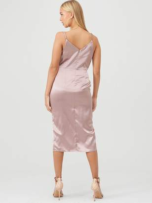 Little Mistress Satin Lace Trim Midi Dress - Taupe