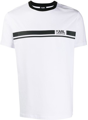 Karl Lagerfeld Paris printed logo stripe T-shirt