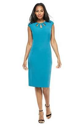 London Times Women's Sleeve Sheath w/Stitched Banded Waist Dress