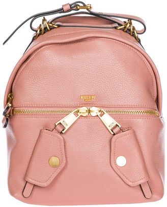 Moschino Ring Detail Logo Biker Backpack