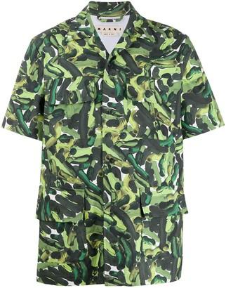 Marni Brushstroke Print Short-Sleeved Shirt