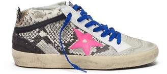 Golden Goose 'Mid Star' contrast lace snakeskin print suede sneakers