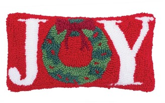 C&F Home Joy Wreath Hooked Decorative Accent Throw Pillow