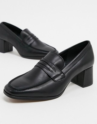 Depp leather square toe heeled loafers in black