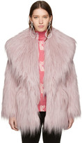 Miu Miu Pink Faux-Fur Oversized Lapel Jacket