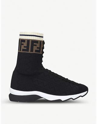 Fendi Logo-trim openwork knitted sock trainers