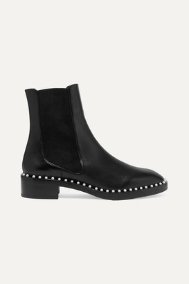 Stuart Weitzman Cline Faux Pearl-embellished Leather Chelsea Boots - Black