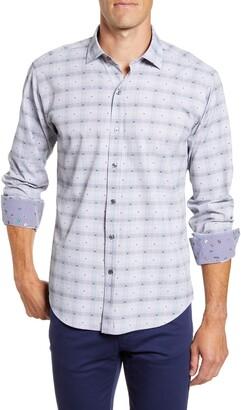 Bugatchi Shaped Fit Check Button-Up Performance Shirt