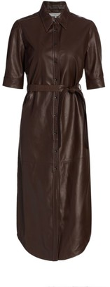 Frame 70s Short-Sleeve Leather Shirtdress