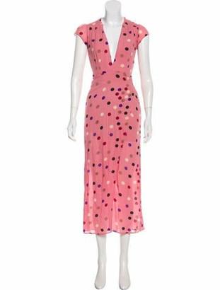 Reformation Polka Dot Wrap Dress Pink