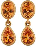 Malcolm Betts Women's Orange Garnet Double-Drop Earrings