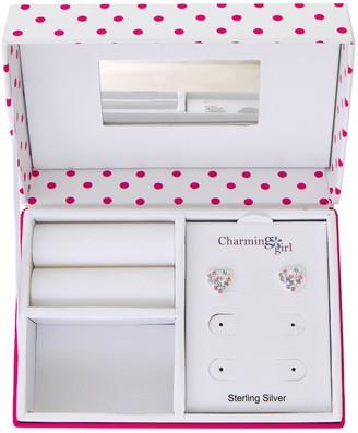 Kids' Charming Girl Sterling Silver Crystal Heart Stud Earrings