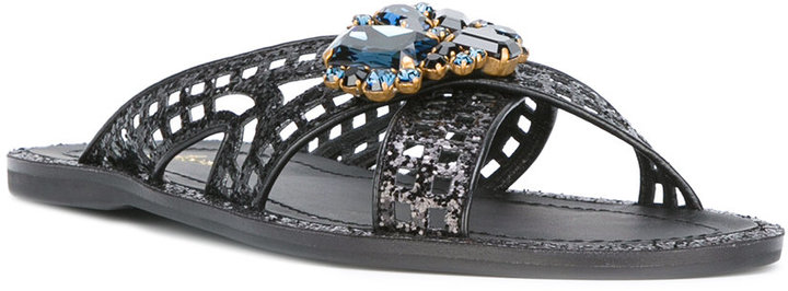 Car Shoe glittered crossed sandals