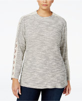 Style&Co. Style & Co. Plus Size Lace-Trim Marled Knit Top, Only at Macy's