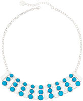 Liz Claiborne Aqua Silver-Tone Collar Necklace