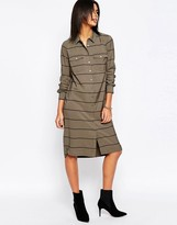 Pepe Jeans Fergy Striped Midi Shirt Dress