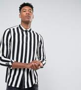 Asos TALL Regular Fit Monochrome Stripe Shirt