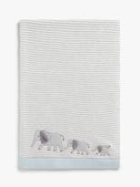 John Lewis & Partners Savanna Elephant Applique Pram Blanket, 100 x 75cm, Grey