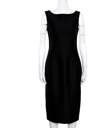 Giambattista Valli Black Silk Wool Sleeveless Pencil Dress S