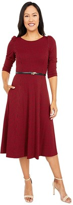 Calvin Klein Belted Houndstooth Midi Dress (Black/Red) Women's Dress