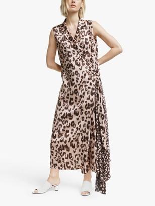 Mother of Pearl Tencel Leopard Print Sleeveless Wrap Dress, Pink/Multi