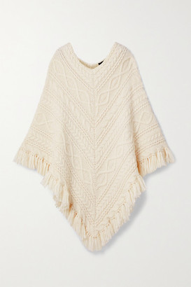 Nili Lotan Pauline Fringed Cable-knit Alpaca-blend Poncho - Cream