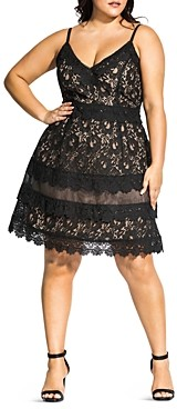 City Chic Plus Sleeveless Lace Fit-and-Flare Dress