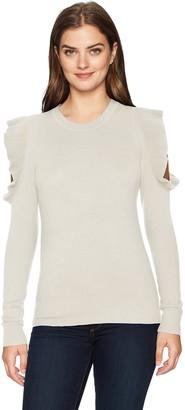 Lark & Ro Women's 100% Cashmere Soft Ruffle Cold Shoulder Sweater