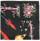 Dolce & Gabbana space and floral print scarf