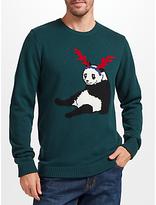 John Lewis Christmas Jumper Panda, Green