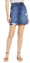Liverpool Distressed Fray Hem Denim Skirt